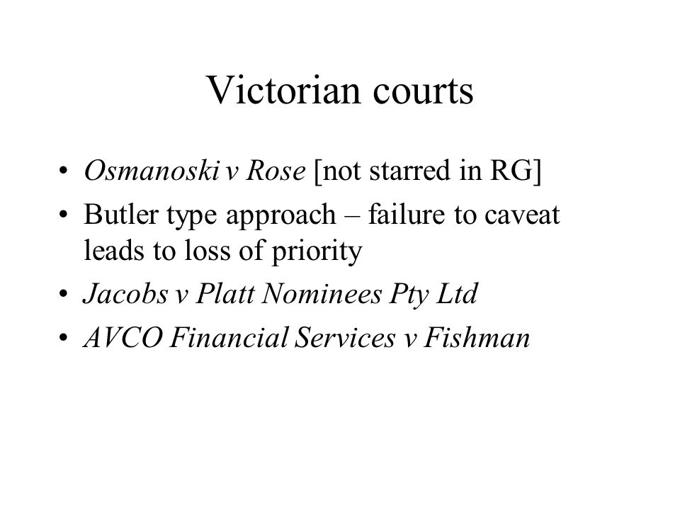 Victorian courts Osmanoski v Rose [not starred in RG]